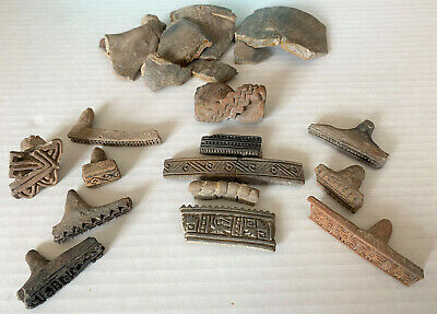 Lot Pre-Columbian Clay Stone Carved Cylinder Roller Stamp Seal Seals - 13 Pieces