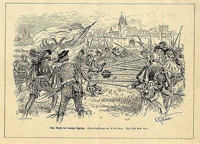 C.Sellmer ( Das Recht der langen Spieße ) Militärische Graphik von 1898