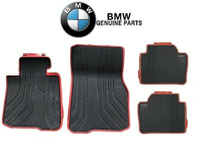 For BMW F32 428i 435i M4 Coupe FrontRear Black Red All Weather Floor Mats Sport