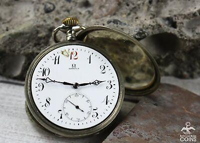 1916 Omega Grand Prix Paris 1900 Silver (800) Case 18 Ligne Pocket Watch Antique