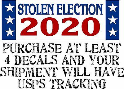 STOLEN ELECTION 2020 Pro Donald Trump BUMPER STICKER Rigged Election