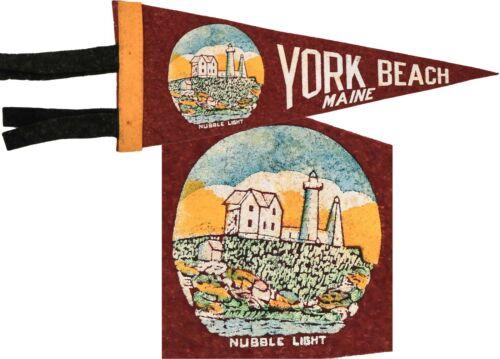 ⭐ Old Souvenir Felt Pennant ⭐ York Beach Maine Nubble Light Lighthouse ⭐ Keezer