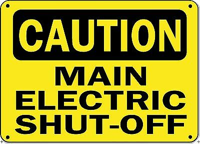 "Caution Sign - MAIN ELECTRIC SHUTOFF - 10"" x 14"" OSHA Safety Sign"