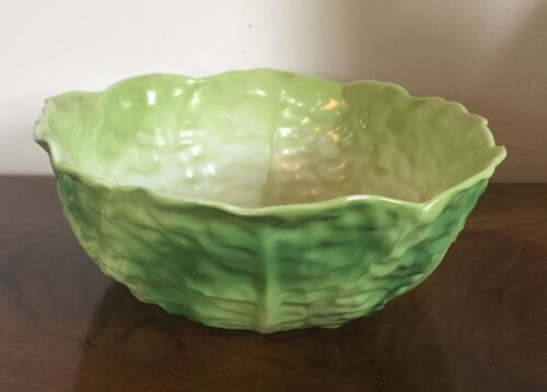Large Vintage Porcelain Green Cabbage Lettuce Leaf Salad Serving Vegetable Bowl