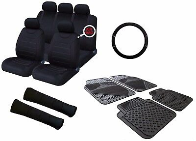 Carnaby Full Black Universal Car Seat Covers Set + Matching Interior Accessories