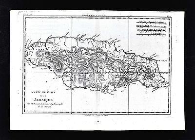 1779 Bonne Map - Isle de Jamaica - Montego Bay Port Royal Kingston - West Indies