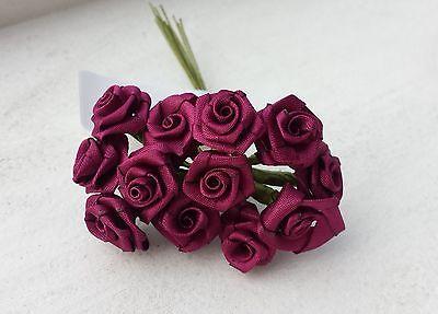 12 Diorröschen bordeaux Satinröschen Rosen Hochzeit gestärkte Stoffrosen