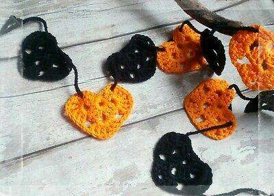 Halloween/ Gothic Bunting, Garland Crochet Handmade - Black and Orange
