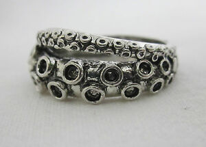 Antique Silver Style Octopus Tentacle Ring - Pirate Nautical Steampunk Gothic