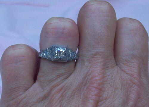 Old Vintage Antique Art Deco Silver Rhodium Pl Rhinestone Engagement Ring Size 5