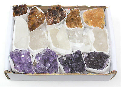 Bulk Citrine Amethyst Clear Quartz Crystal Clusters: 9-14 Piece Lot