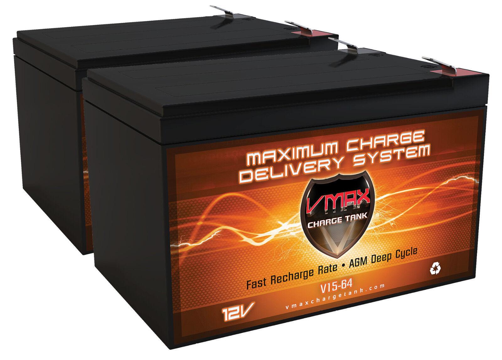 Qty 2 Vmax64 Agm Deep Cycle Vrla 12v 15ah Battery Power W...