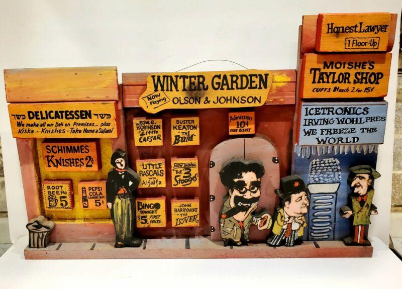 Vtg. Original Harry Glaubach  Artwork Historic Winter Garden NYC Signed 1984
