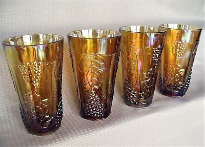 Indiana Glass 4 Iridescent Gold Carnival Harvest Grape 14 ounce Tumblers