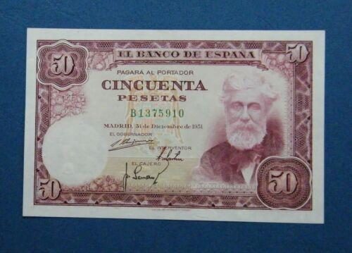 SPAIN  BANKNOTE 50 PESETAS 1951  ¨RUSIGNOL¨  XF+