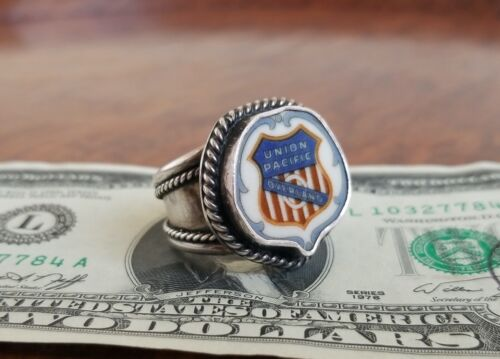 Vtg UNION PACIFIC RAILROAD Sterling Silver Ring-Historical Plate-Fred Harvey Era