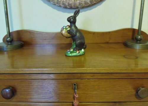 "Faux Chocolate EASTER BUNNY RABBIT Figurine With Colored Eggs Ceramic 8"" NEW"