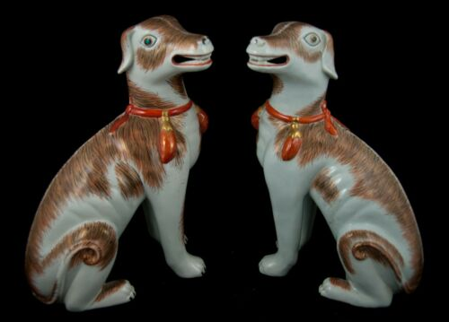 Pair of Chinese Export Style Porcelain Hounds (Dogs) by Mottahedeh