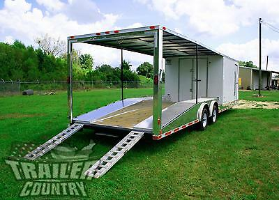 New 8.5 X 30 Enclosed Open Deck Car Toy Hauler Trailer 10k Axles