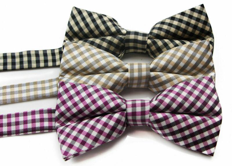 Mens Checkered Cotton Bow Tie Pre-tied Black Bowtie Wedding Formal Ties Tuxedo