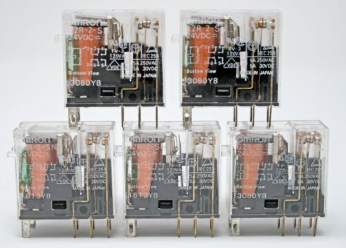 Lot of 5 - OMRON G2R-2-SN - 24VDC Coil 5A 250VAC DPDT RELAY TV-3