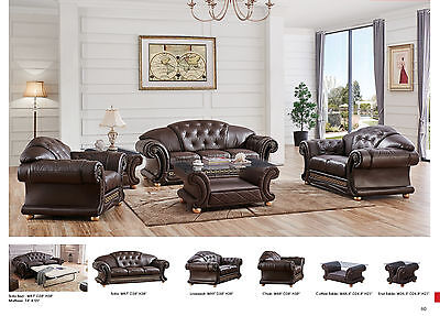 ESF Furniture Apolo Sofa Loveseat Chair Brown Italian Leather Living Room