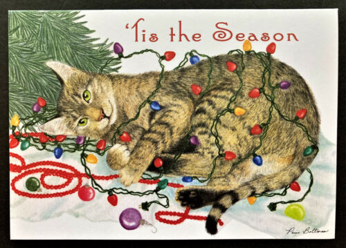 Cat Christmas Card ONE Cat Lover Beautiful Tabby Tangled In Lights Paris Bottman