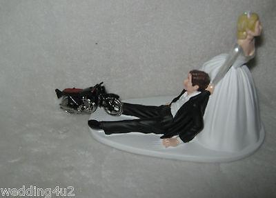 Bride Dragging Groom - Wedding Party Reception ~Motorcycle~ Cake Topper Biker Hog Bride Dragging Groom