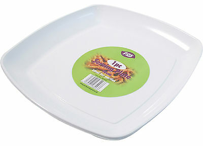 10 x WHITE PLASTIC SERVING PLATTERS DISPOSABLE TRAYS PARTY PLATTER 40cm SQUARE - Plastic Party Platters