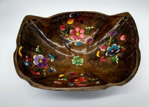 Large Mexican Folk Art Batea Wood Vintage Bowl Hand Painted Tole Flowers Unusual - $18.00