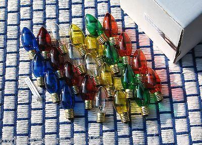 Box of 24 TWINKLE flashing C9 Christmas light bulb 6 color mix assortment ~ NEW