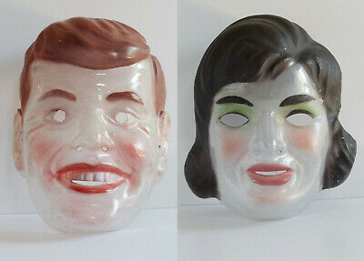 RARE! Vintage John F Kennedy JFK Jackie O Transparent halloween Masks Germany
