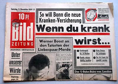 Kult-Zeitschrift BILD ZEITUNG, 21. November 1959, Neue Krankenversicherung uvm.