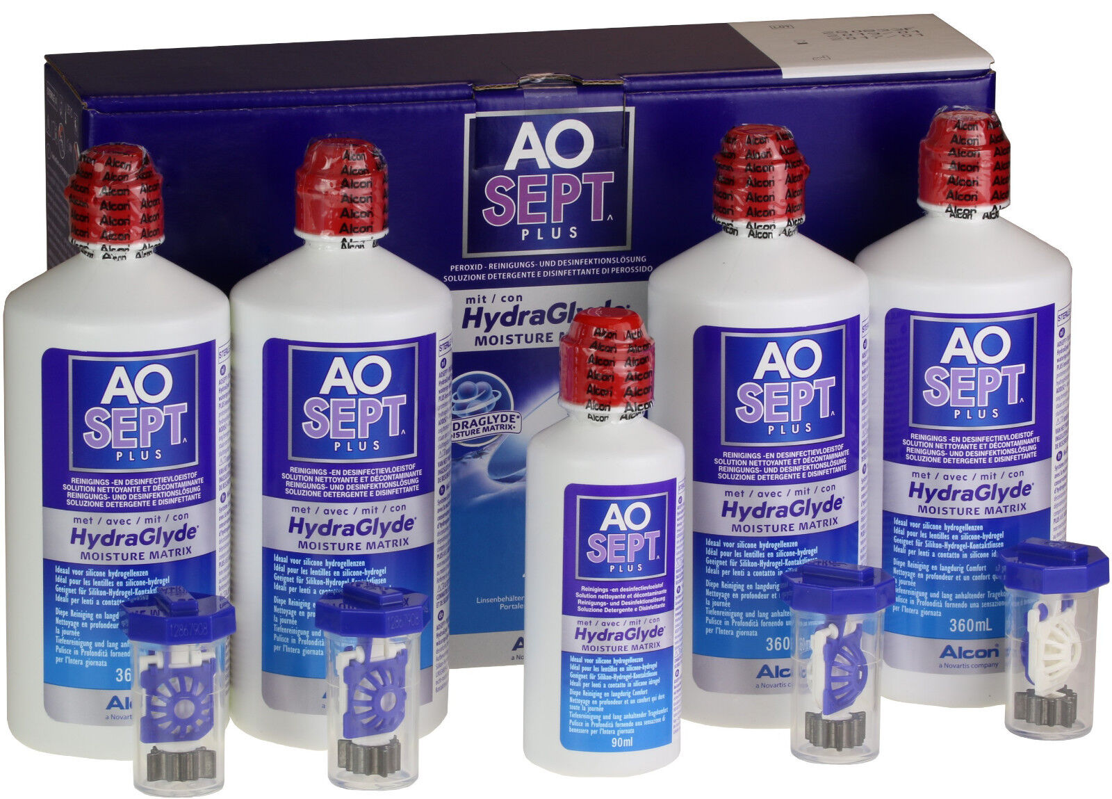 AOSept Plus HydraGlyde 4x360ml Peroxyd Pflegemittel 1x90ml gratis 100ml3,75