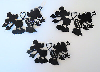 Mickey Minnie Silhouette Paper Die Cut Embellishments scrapbooking 3 pc Black