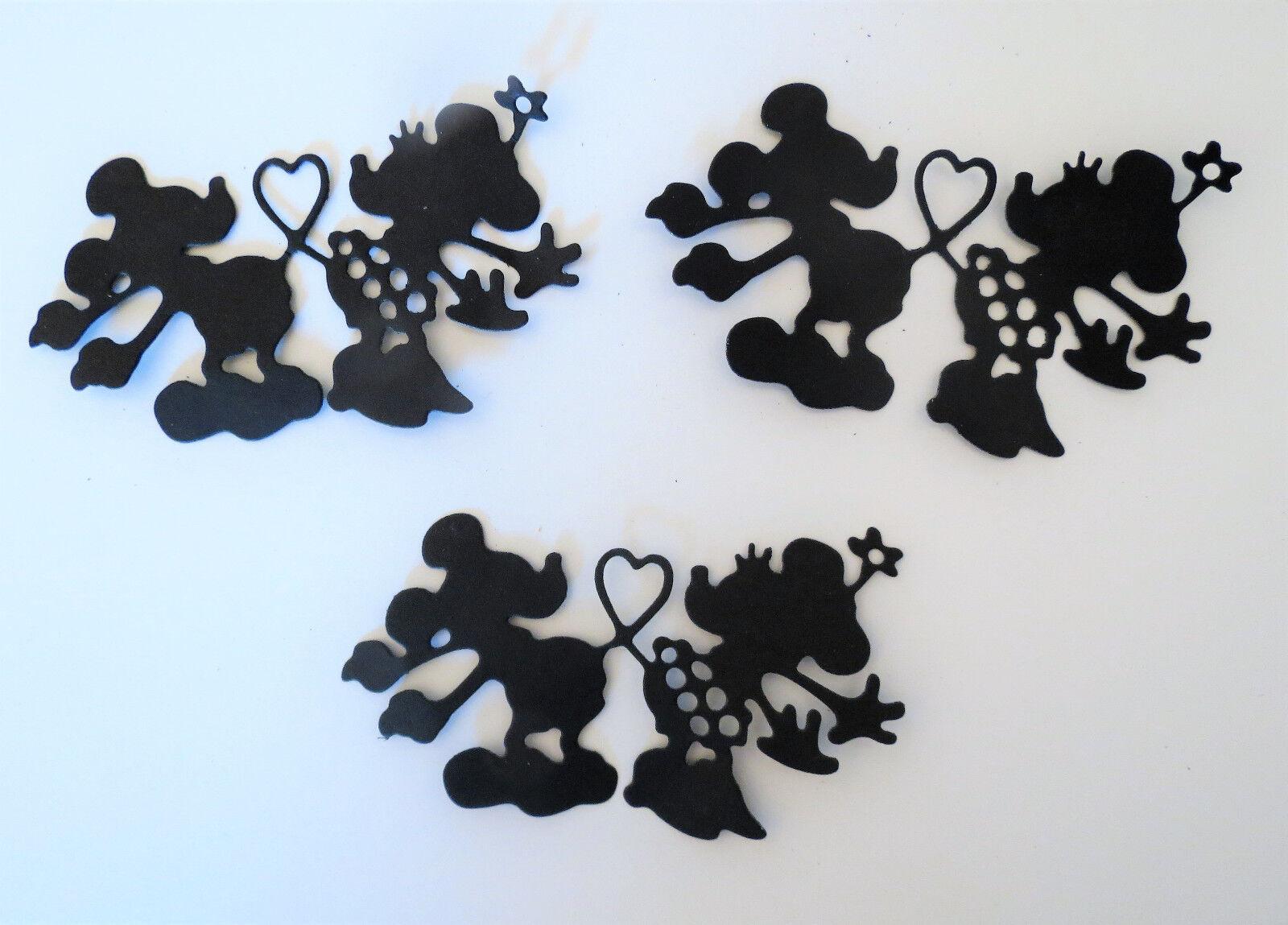 Mickey Minnie Silhouette Paper Die Cut Embellishments scrapbooking 3 pc Black