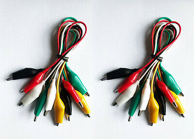 10 Pcs.- 5 Colors Test Lead Alligator Clip Set Ac-5 With 21.5 Length Wires