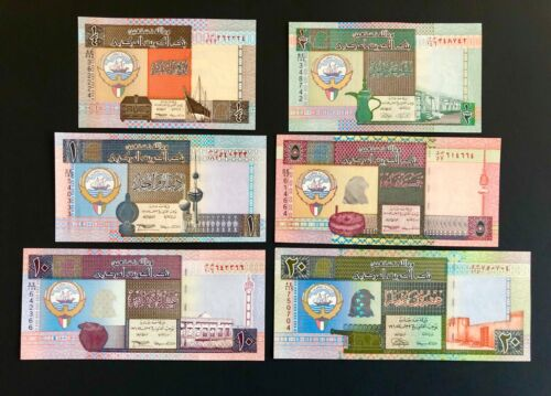 Kuwait 1994, UNC Full Set of 6 banknotes: 20 10 5 1 1/2 1/4 Dinar - Exceptional