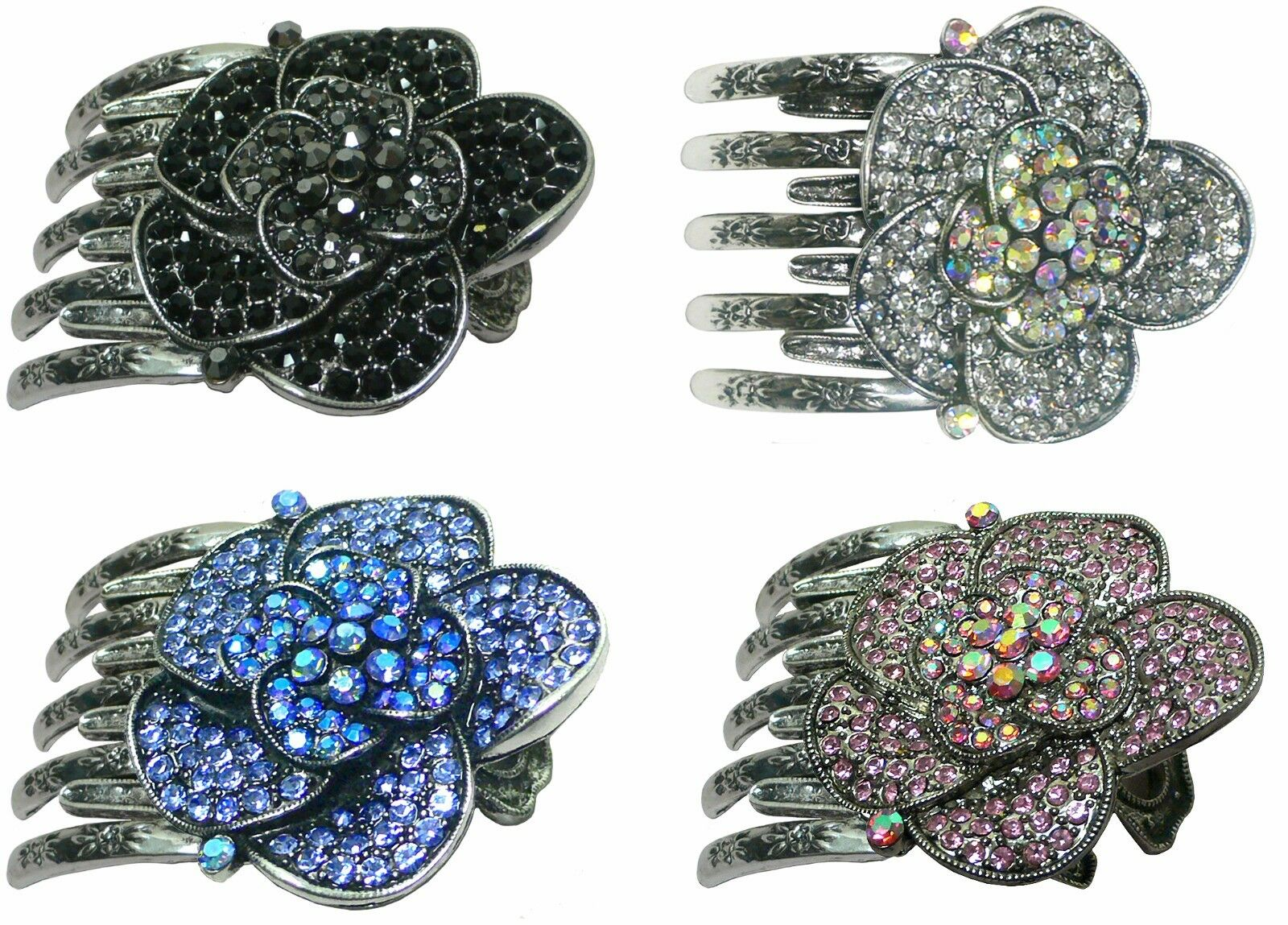 Bella Metal Claw Clip Large Flower Round Hair Clip with Meta