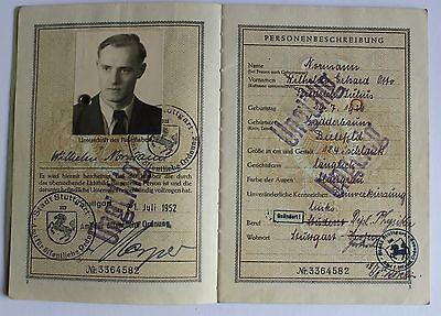 Reisepass BRD 1952 versch. Stempel, alter Ausweis Dokument