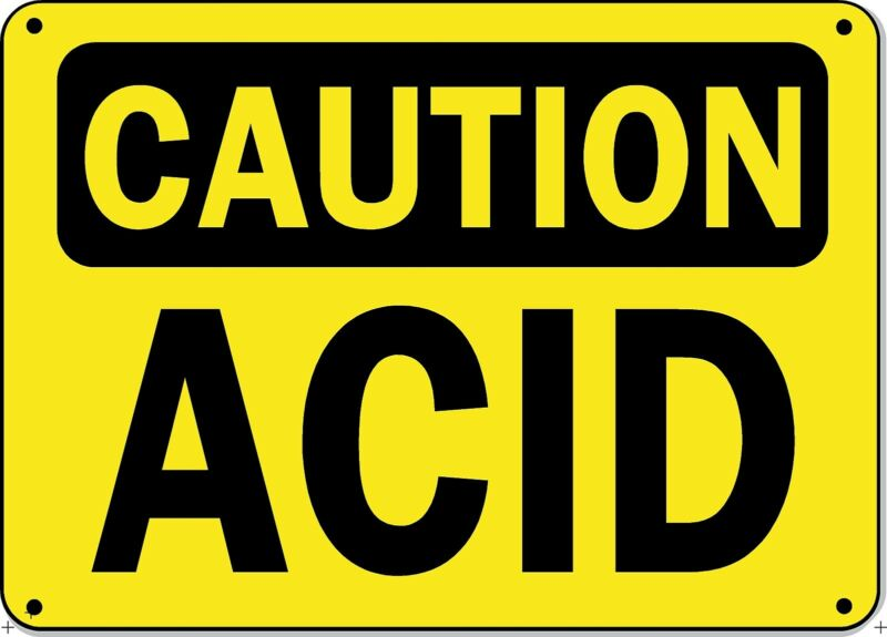 "Caution Sign - ACID - 10"" x 14"" OSHA Safety Sign"