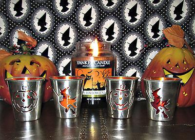 SET OF 4 HALLOWEEN VOTIVE/TEA LIGHT CANDLE HOLDERS *WITCH & PUMPKIN* NEW IN - Halloween Tea Light Holders
