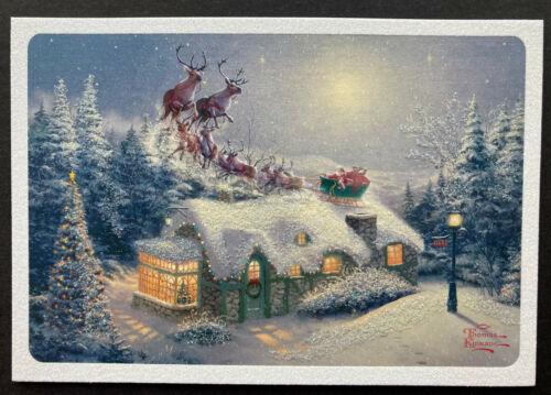Thomas Kinkade Christmas Card SET 4 Large Glowing Santa Sleigh Cottage Moon Snow