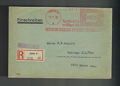 1932 Berlin Germany Meter Cover Deutsche Bank