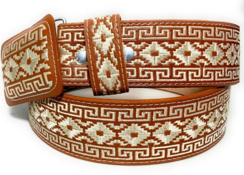 Cinto Charro Bordado. Mens Embroidered Western Belt Pitiado Vaquero Leather Belt