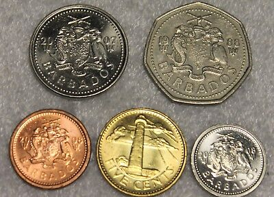 set of 5 different coins from Barados ()