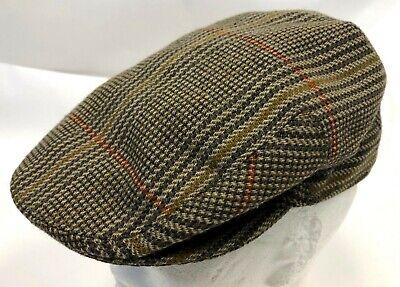 Vintage Cotswold Mybro Wool Blend Brown Plaid British Cabbie Newsboy Hat Cap S Cotswold Cap