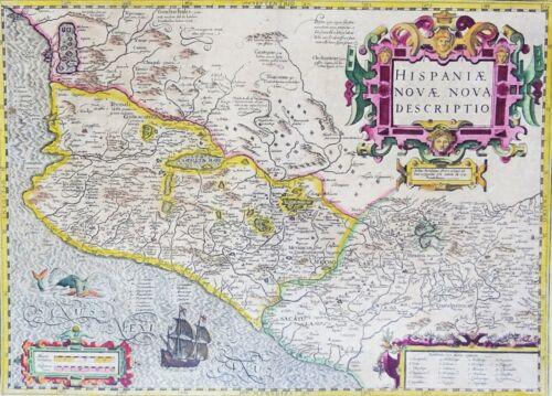 México, Guadalajara, DF, Acapulco Hondius, 1606, Hispaniae Novae Nova Descriptio