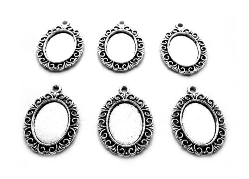 6 Antiqued Silvertone HELENA Style 18mm x 13mm CAMEO PENDANT & Earrings Settings