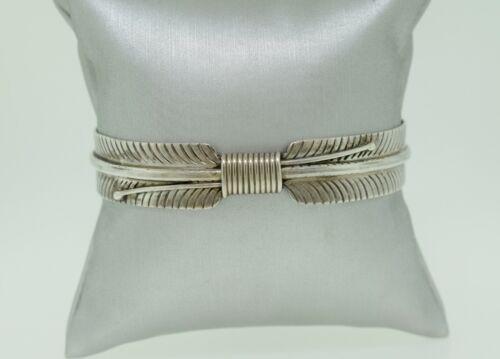 Verna Blackgoat Navajo Sterling Silver Feather Bracelet Cuff